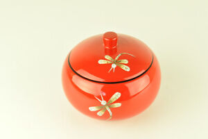 Decorative Handmade Lacquered & Eggshell Inlaid Wooden Round Box, Jar, Red H041L