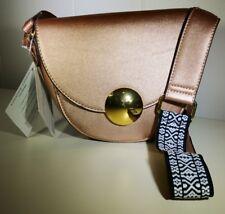 Adrienne Vittadini Crossbody Bag Purse with Guitar Strap Rose Gold Metallic NWT