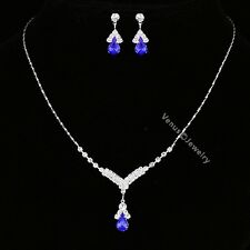 Bridal Bridesmaid Wedding Blue Rhinestone Crystal Necklace Earrings Set N303