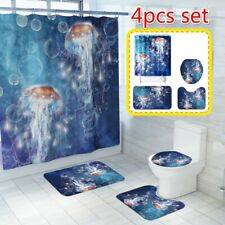 Psychedelic Jellyfish Pattern Bathroom Shower Curtain Bath Mat Toilet Rug Decor