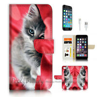 ( For iPhone 7 Plus ) Wallet Case Cover P3459 Cute Cat