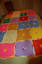 Crochet Afghan blanket throw comforter bright colored squares 67 x 38