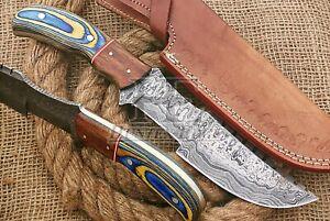 HUNTEX Custom Handmade Damascus Steel 280mm Long Pakkawood Hunting Tracker Knife