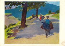 1966 Russian postcard BOY RIDES DONKEY SUMMER DAY by Armenian artist G.Agasyan