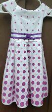 100% Cotton Girls Purple Polka Dot Dress Size 6X Slip Cute Sleeveless Formal