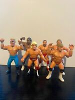 6 x WWF WWE WCW GALOOB Wrestling Figures - Flair Luger Arn Simmons Sting Pillman