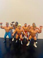 6 x WWF WWE WCW GALOOB Wrestling Figures - Flair Luger Arn Simmons Sting Pillman
