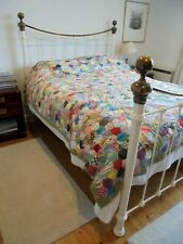 More details for an absolutely gorgeous vintage large hand stitched patchwork quilt - 92