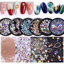 Gold Silver Metal Nail Art Studs Crystal Gem 3D Nail Art Decoration DIY Manicure