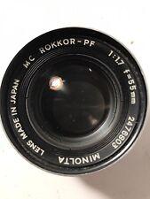 Minolta Camera Lens. Rokkor-pf. 1:1.7. F=55mm