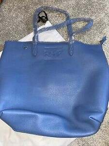 Rodan + Fields Large Large Blue Pebbled Leather Travel Tote w/ Mini Pouch