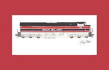 "Iowa Interstate ES44AC Rock Island Heritage 11""x17"" Matted Print Fletcher signed"