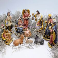 Christmas Nativity Set Scene Figures Polyresin Figurines Baby Jesus-11 PIECE SET