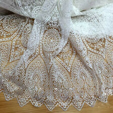 "1 Yard White Milk Silk Embroidery Organza Tulle Lace Fabric 51"" Width"