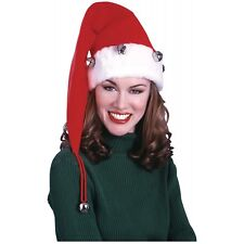 Extra Long Santa Hat with Bells Adult Plush Trim Claus Christmas Costume Acsry