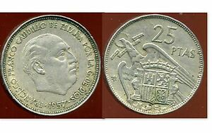 ESPAGNE 25 pesetas 1957 (59)   FRAPPE FORTE  (variedad)   (variété )