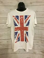 Primark Women's Graphic T-Shirt British Union Jack Flag Front White Cotton Sz L
