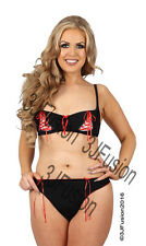 Black/Red Bra & Thong Brief Lingerie/Underwear Set Valentines Gift Fast Post CW