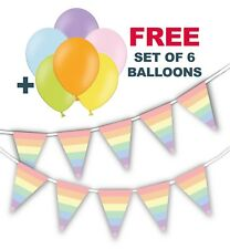 "Pastel Rainbow Triangle Flags Bunting + free pack of 6 asst 12"" Pastel balloons"