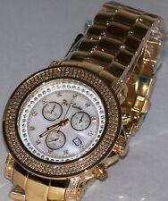 new gold tone Mens Joe Rodeo Junior chronograph  2.50 Ct.aprx.Diamond Watch jju3