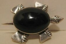 Classic Antique Sterling Silver & Obsidian Cosmic Grandmother Turtle Pin 1940