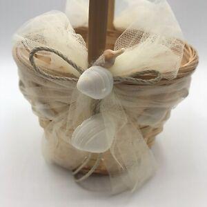 Beverly Clark Flower Girl Basket Wicker Sea Shell Ivory Tulle