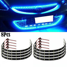 8Pcs Flexible DC12V Blue 15LED SMD Waterproof Car SUV Grille Decor Lights Strip