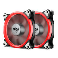 Pack of 2 Aigo 120mm 12cm Halo Ring Neon RED LED Computer PC Case Cooling Fan