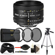 Nikon AF FX NIKKOR 50mm f/1.8D Lens + Accessory Bundle for Nikon DSRL Cameras