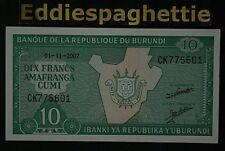 BURUNDI 10 FRANCS 1-11-2007 UNC P-33e