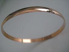 Oro Rosa Brazalete Esclavo 9 Quilates Sólido Forma D 4mm