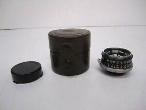 Vtg Nippon Kogaku Nikon W-Nikkor C 1:2.5 f=3.5 cm Camera Lens & Case