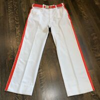 Mens 35 30 White HAGGAR Pants VTG 70s Disco Leisure Belted Saturday Night Fever