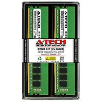 A-Tech 32GB 2x 16GB PC4-21300 Desktop DDR4 2666 MHz DIMM 288-Pin Memory RAM Kit