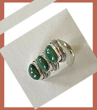Artisan Created Hand Crafted Natural Malachite Sterling Silver Ring from India!