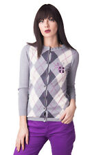 LA MARTINA Cardigan Size 2 / S Wool Blend Embroidered Argyle Pattern RRP €169
