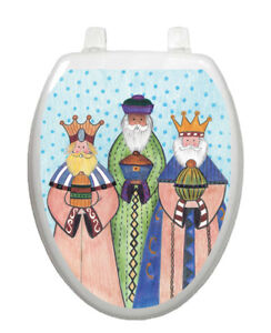 Three Kings Toilet Tattoos Vinyl Lid Cover Removable and Reusable Christmas