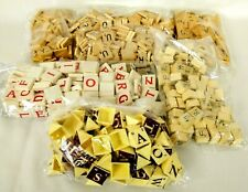 Scrabble Tiles Lot of 720 Wooden Wood Letter Cubes Red Plastic Triangle Mix Lot