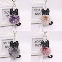 Cute Pompom Fluffy Cat Key Chain Lovely Faux Fur Ball Animal Key Ring Love Women