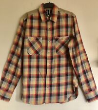 Goliath Size L Mens Shirt Long Sleeve Chequered Button Down Shirt Elbow Patch EC