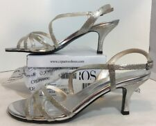 NEW CAPARROS Silver Sandals Size 7 1/2 OpenToe Pumps Ankle Strap Low Heels Shoes