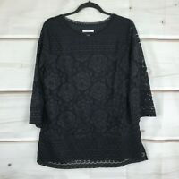 Isaac Mizrahi Live 3/4 Sleeve Scoop Neck Mixed Lace Tunic Top Black Womens M