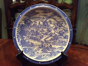 Vintage 1941 Vernon Kilns Blue & White Transfer Ware Plate Made in USA