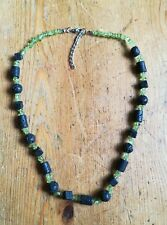 "Genuine Green Peridot & Black Lava stone bead necklace adjusts 18-20"" bohemian"