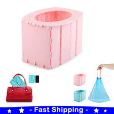 Folding Portable Toilet Commode Seat Cleaning Bag Waterproof Camping Hiking Tent