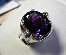 MENS 8CT AMETHYST SET IN A STUNNING STERLING HEAVY HANDSOME RING