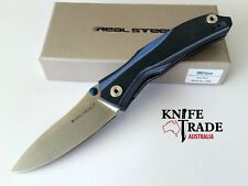Real Steel E802 Horus Black/blue 7432 Pocket Knife Thumb up Safety Lock 14c28n