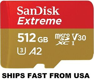 Sandisk 512GB Extreme Micro SD Memory Card SDSQXA1-512G-GN6MN SDXC Class 10 Card