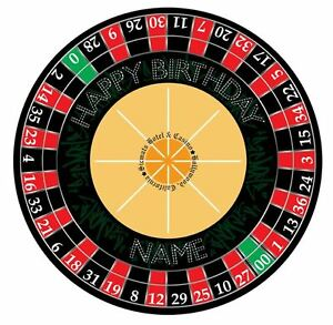 Casino Roulette Wheel Personalised Edible Icing Cake Topper Round