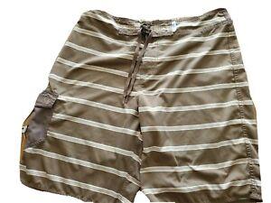 OP OCEAN PACIFIC Mens Swim Trunks M 34 Board Shorts stripe brown distressed
